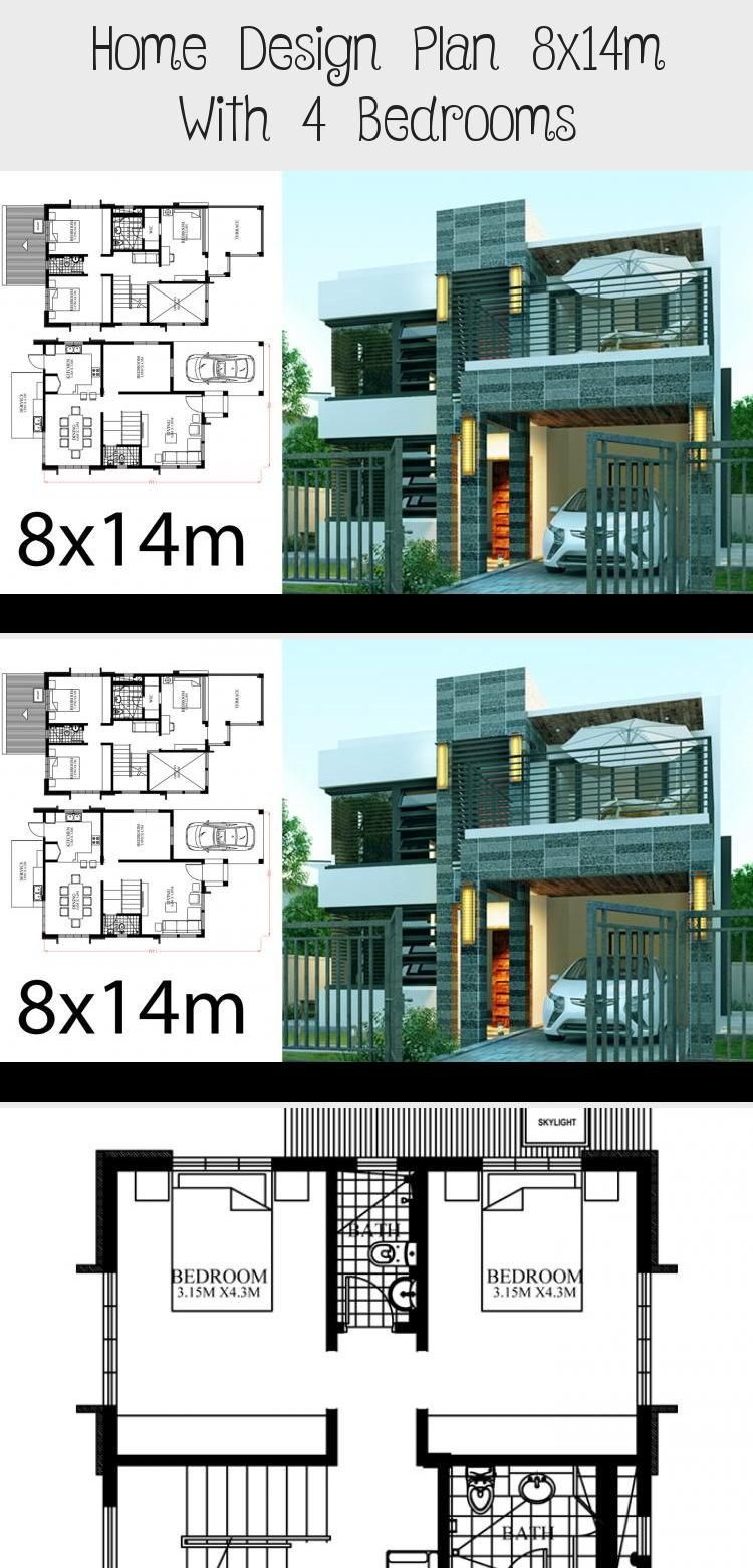 Home Design Plan 8x14m With 4 Bedrooms Home Planssearch Modernarchitecturesteel Modernarchitecturefloorpl In 2020 Home Design Plan Modern Architecture House Design