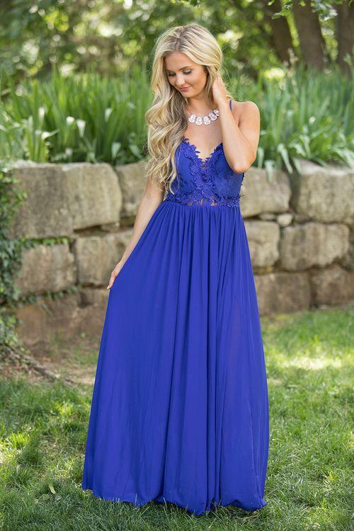 A Summer Serenade Maxi Dress Royal Blue The Pink Lily