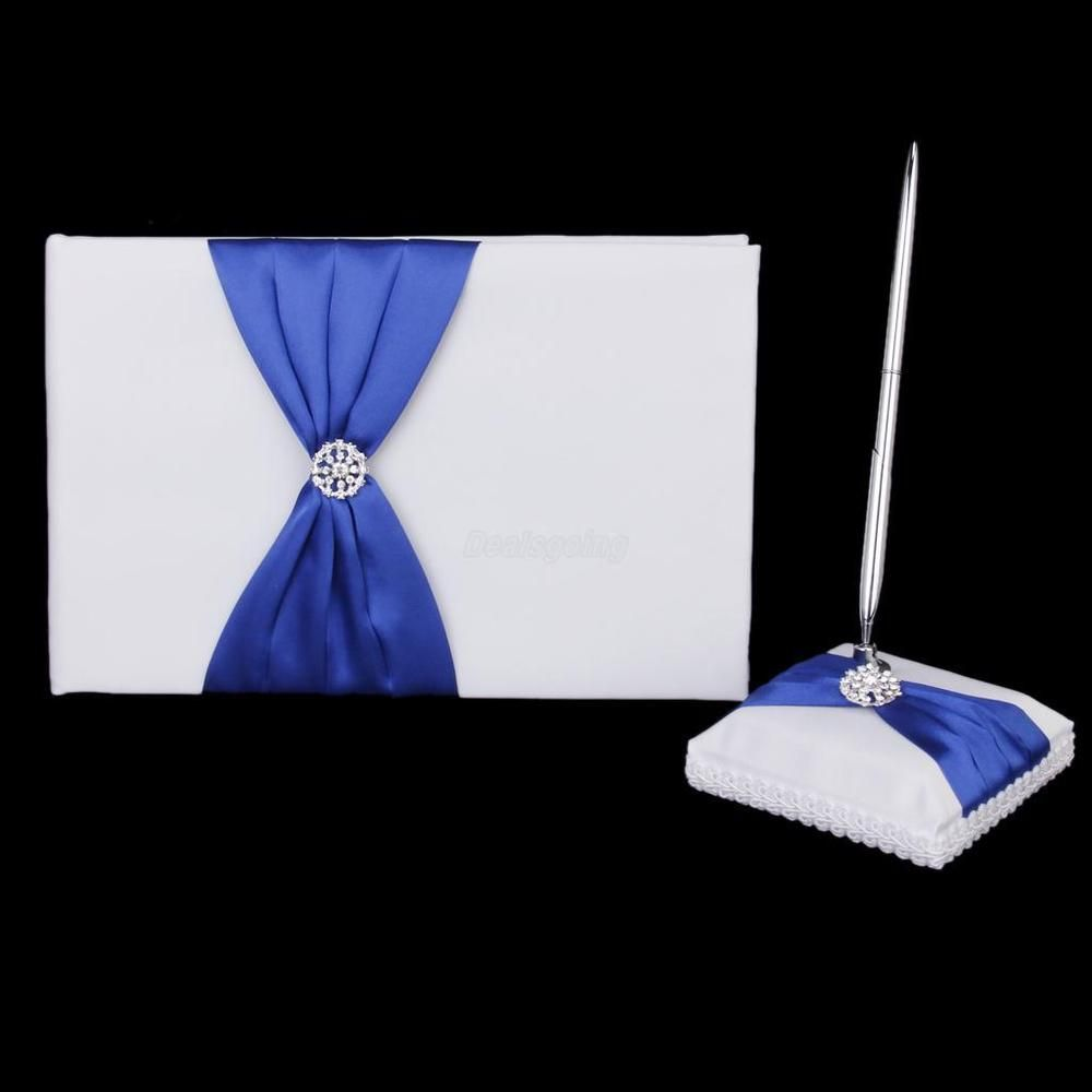 White Guest Book and Pen Set With Crystal Diamond Wedding Reception Décor #Unbranded