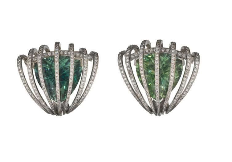 Evelyn Clothier platinum and emerald earrings.