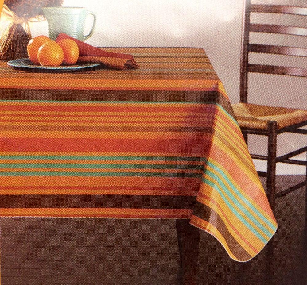 Vinyl Peva Flannel Tablecloth 52 X 70 Inch Rectangle Striped New Unbranded Table Cloth Vinyl Tablecloth Vinyl