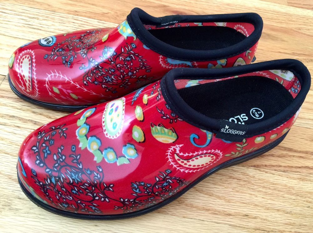 SLOGGERS Size 7 Womens Garden Shoe Clog Paisley Red
