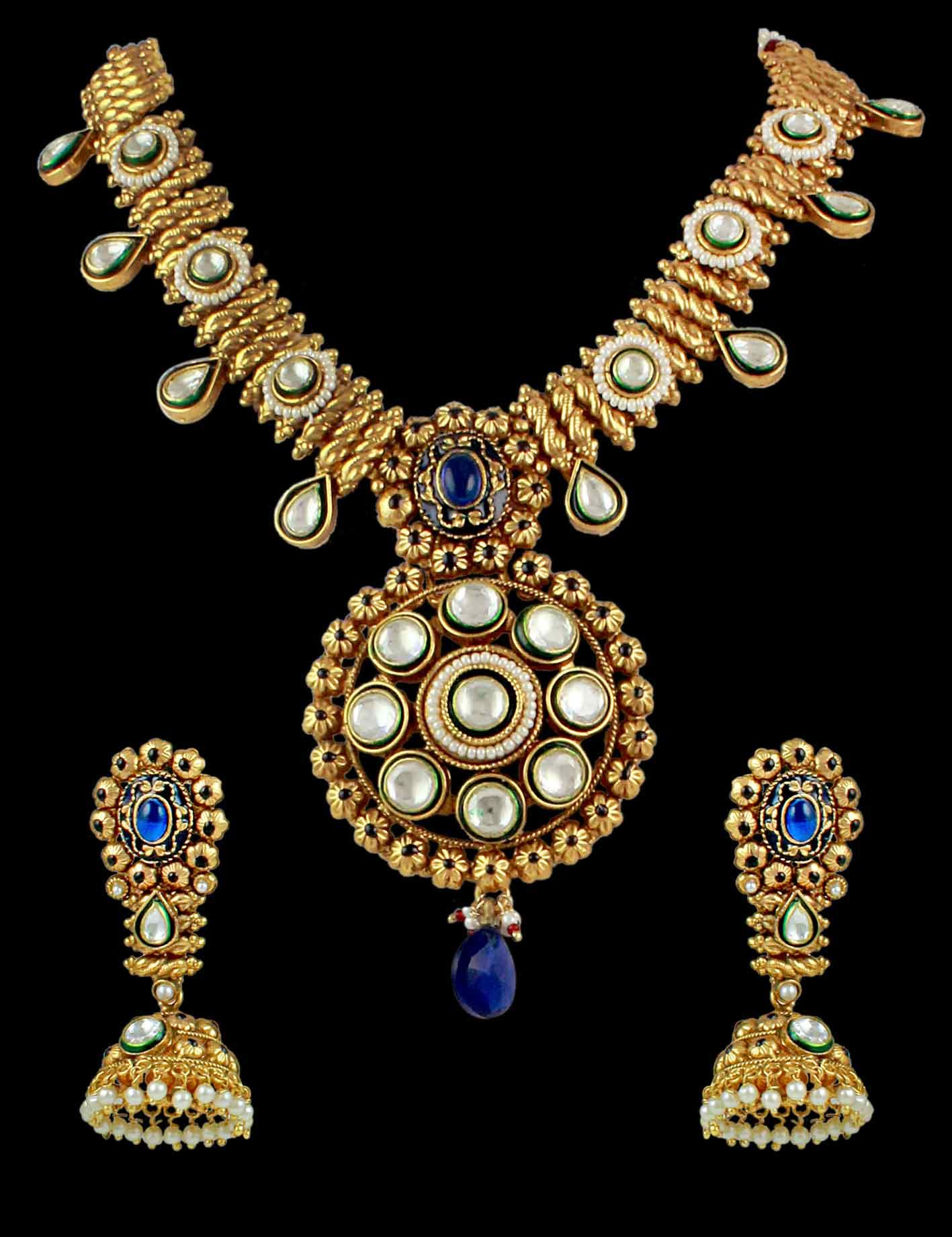 11a3829d00ca3 Kundan Traditional Necklace Earrings In Blue Color | Jewellery Sets ...