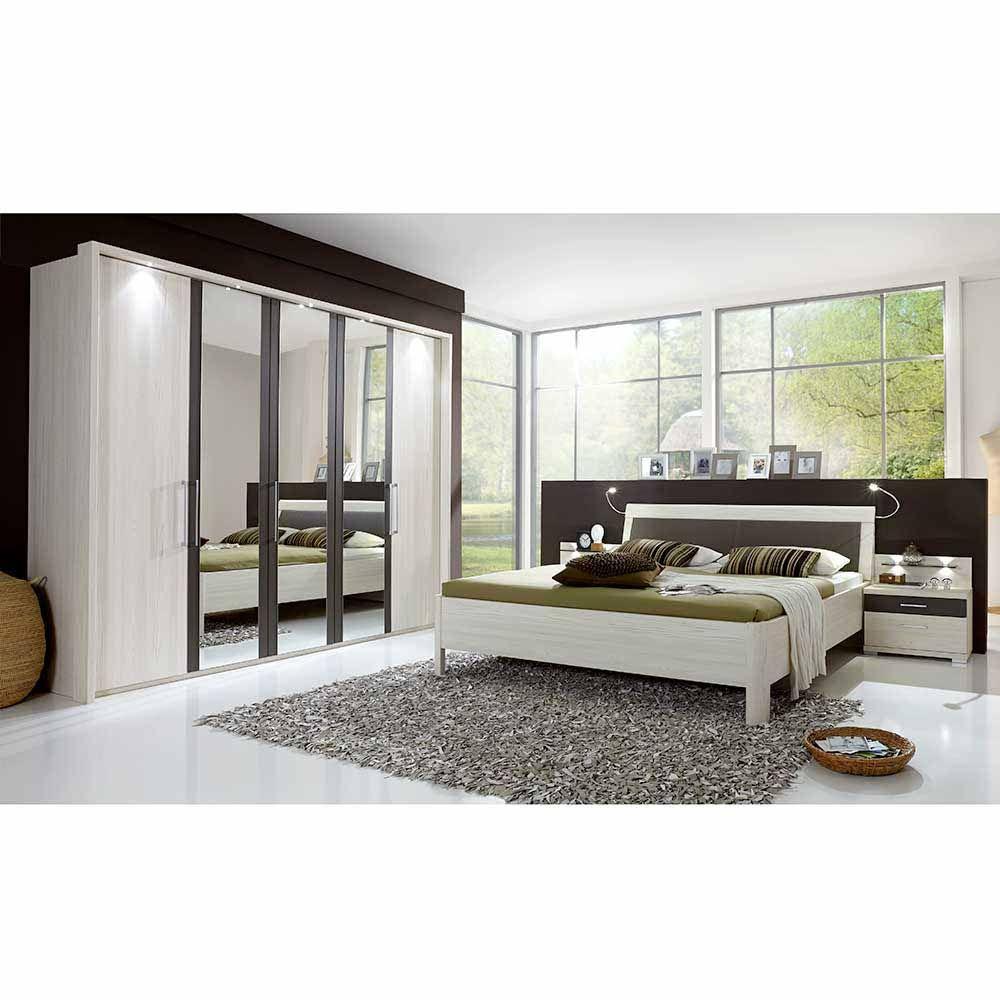 Schlafzimmermöbel Set in Lärche Weiß Grau 180x200 cm (4
