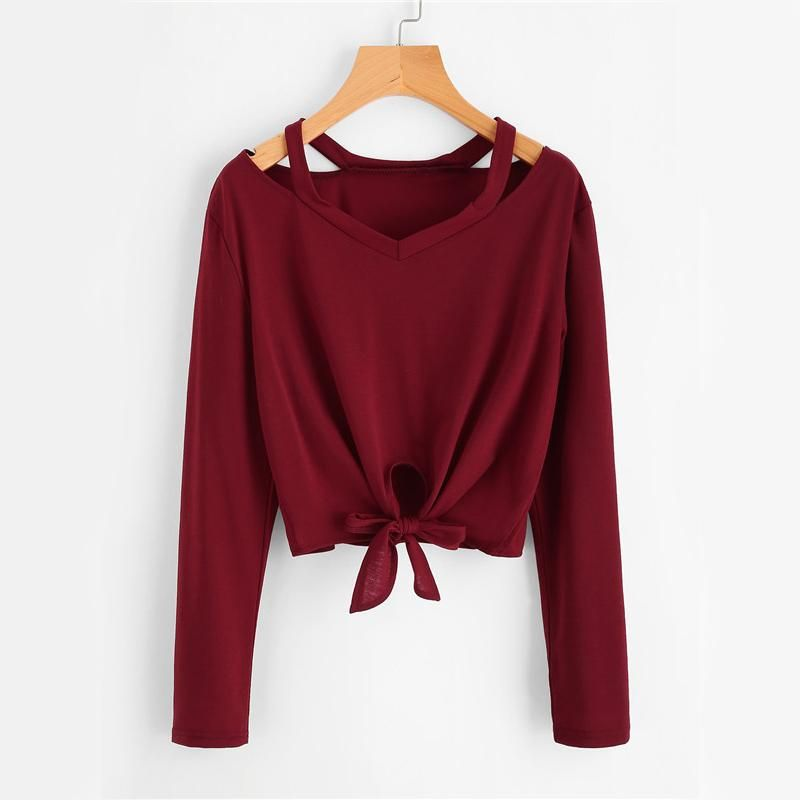 Burgundy Knot T-shirt Fall Women Sexy Cut Out V Neck Casual Tops Fashion New Long Sleeve Casual Bow Tie Basic T-shirt 15