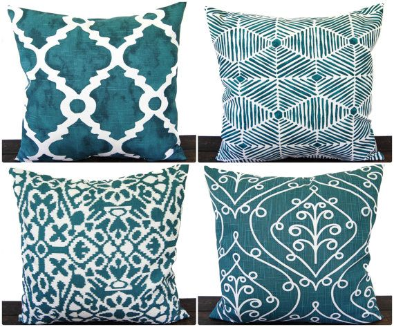 Pillow, Throw Pillow, Pillow Cover, Cushion, Decorative Pillow, Plantation Blue Green teal