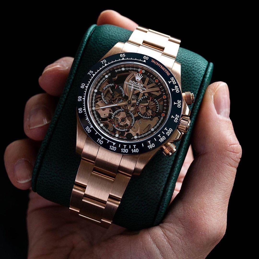 Rolex Artisans De Geneve New La Blausee Skeletonized Rose Gold Daytona In 2020 Uhren Herren Uhren Herrenuhren