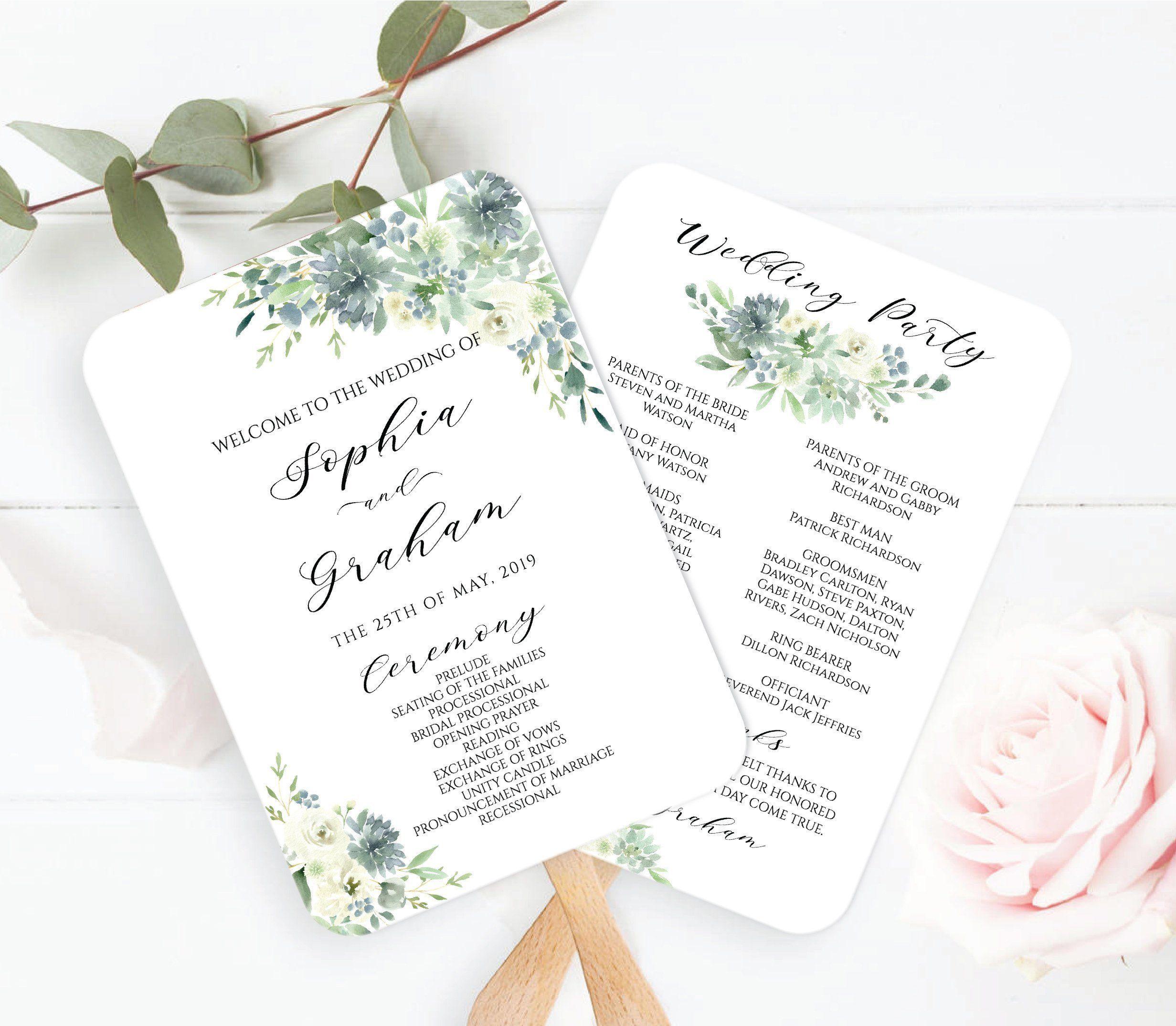 Printable Dusty Blue And Greenery Wedding Program Fan Template Botanical Succulent Diy Editable Ceremony Program Instant Download Mp102 Wedding Program Fans Wedding Programs Diy Wedding Programs