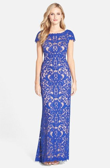 Tadashi Shoji Lace Column Gown (Regular & Petite) available at #Nordstrom-Mystic Blue /Nude or Silver-$558.00