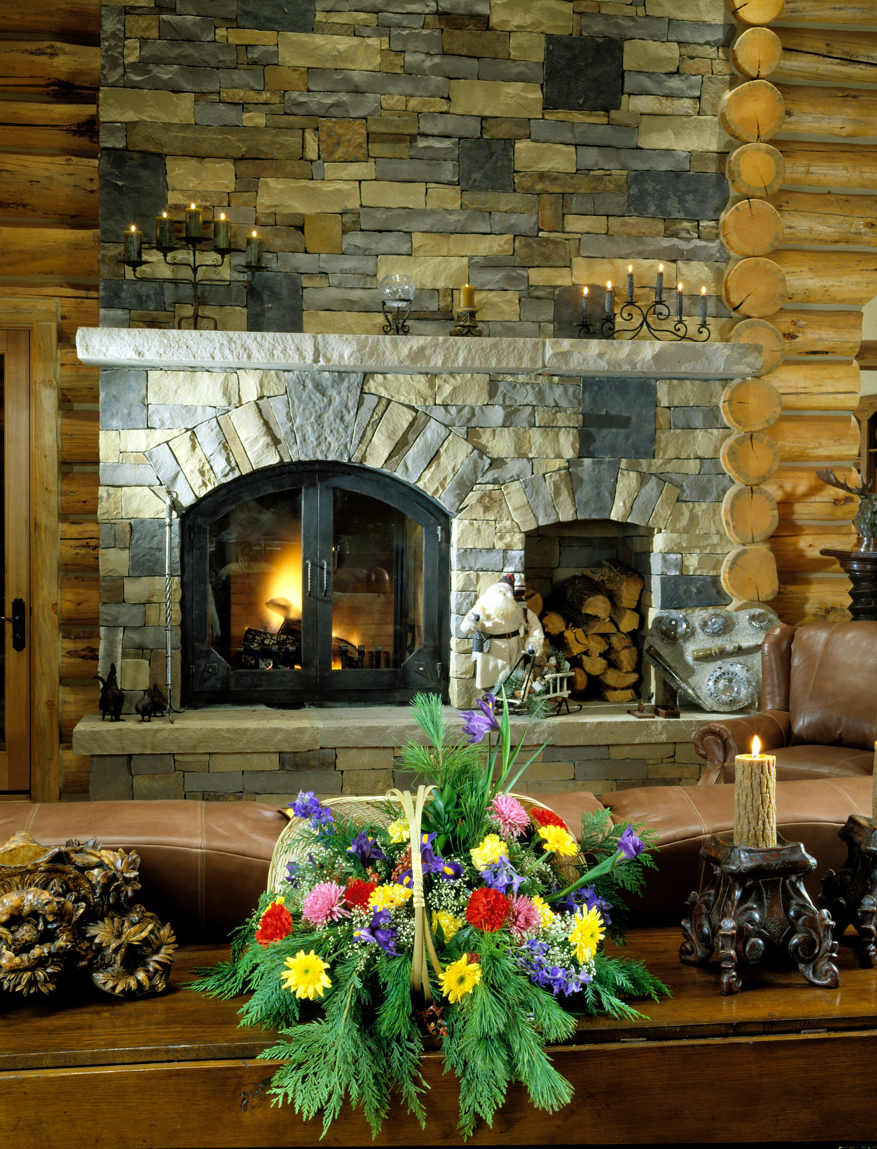 Beautiful Stone Fireplaces beautiful stone fireplacefrontier log homes. | log home living