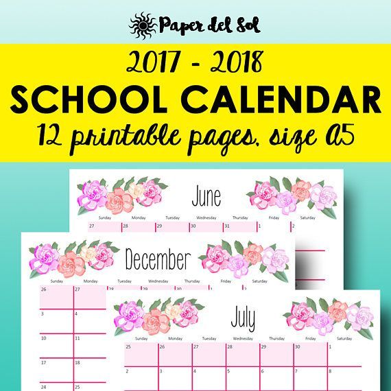 2017-2018 School Calendar Printable, Academic Calendars, A5 - academic calendar templates