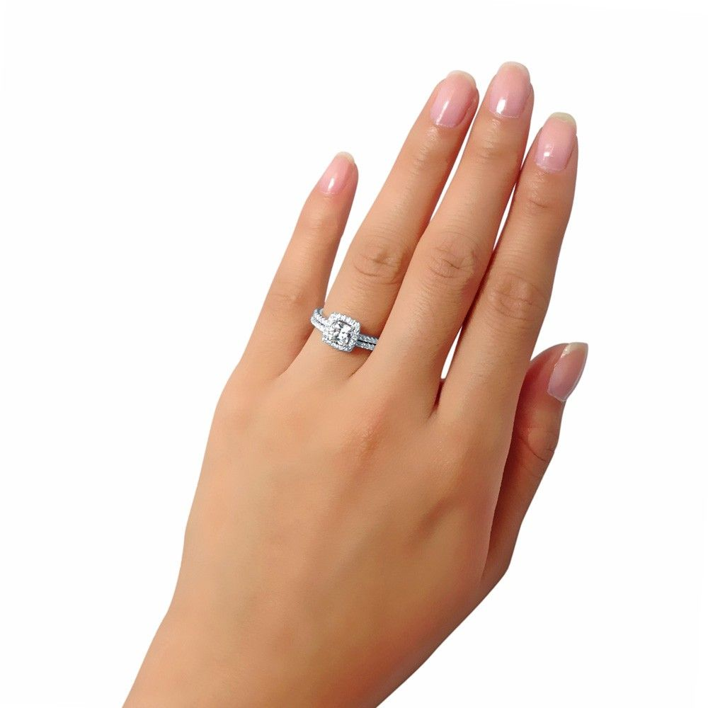 Ring · Cushion Cubic Zirconia Sterling Silver 2Pc Halo Bridal Ring Set . ...