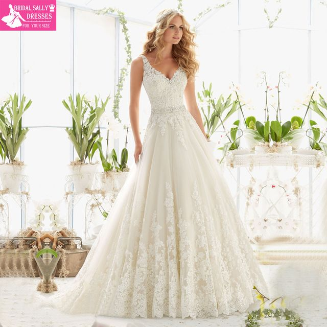New Design A-Line Lace Wedding Dresses 2016 V-Neck Beaded Sash ...