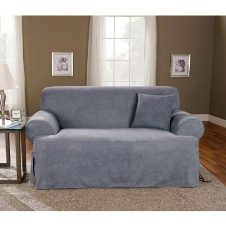Amazon Com Sure Fit Soft Suede T Cushion Loveseat Slipcover Smoke Blue Home Kitchen Cushions On Sofa Slipcovers For Chairs Loveseat Slipcovers
