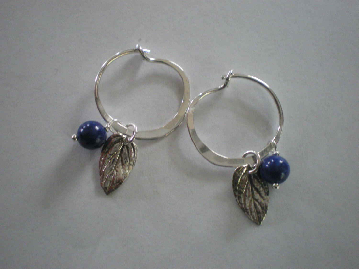Maine Blueberries Sterling Silver and Lapis Lazuli Hoop Earrings by glistajewelry on Etsy