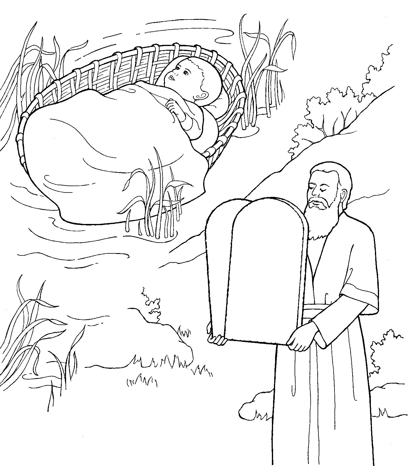 baby moses and grownup moses with the 10 commandments httpwww ten commandmentsfree coloring pagesword