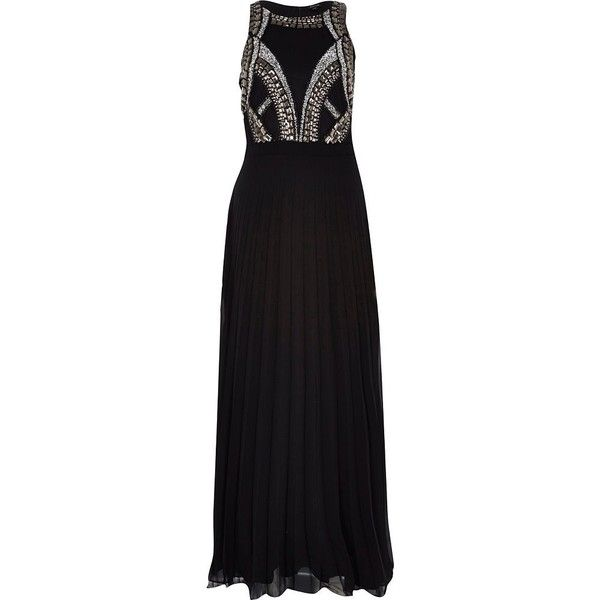 River Island Black sequin bodice maxi dress (905 UYU) ❤ liked on Polyvore featuring dresses, gown, river island, sale, pleated maxi dress, double layer maxi dress, pleated dress, sequin formal dress and river island dresses