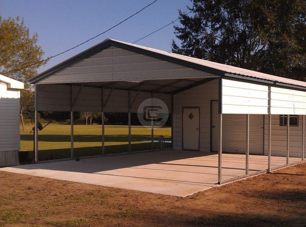 A combination of Enclosed Utility Carport and Metal