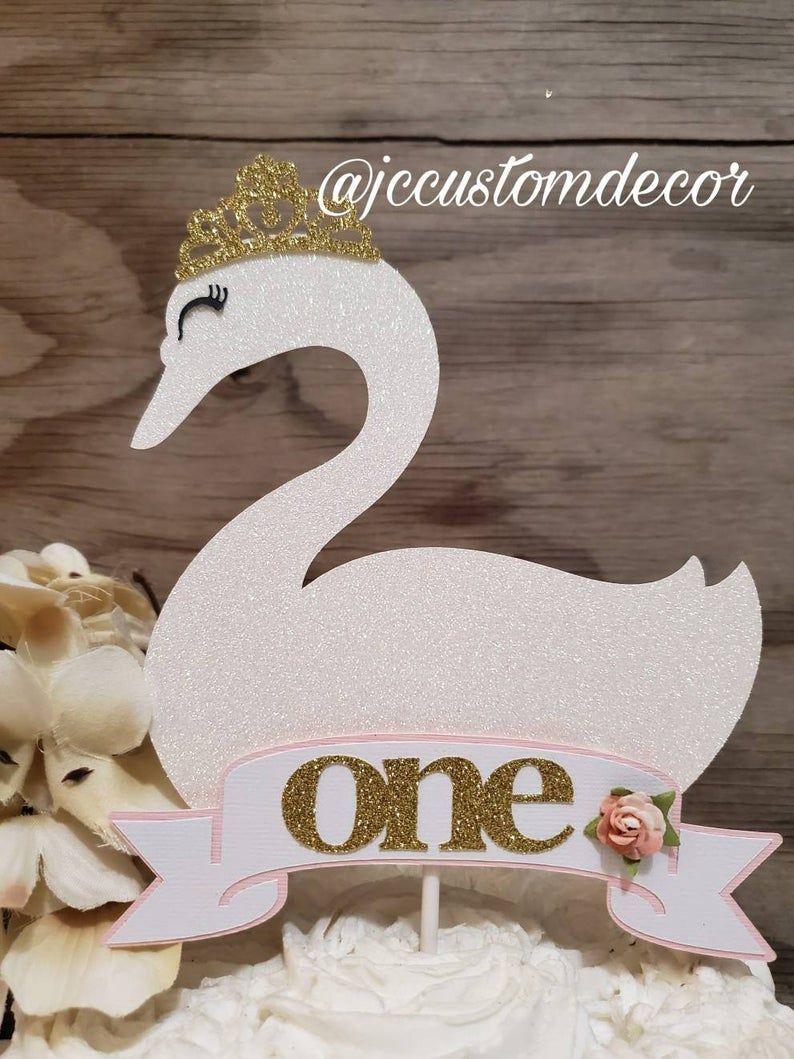 Swan Cake Topper Swan Birthday Swan Party Decor.