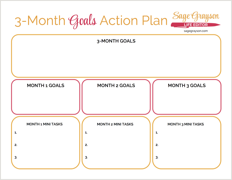 3Month Goals Action plan Free printable worksheet to help you – Action Plan Work Sheet