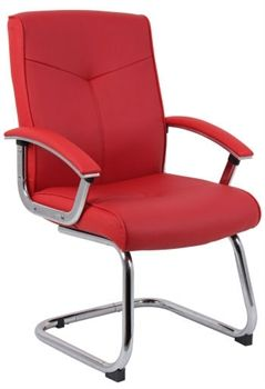 Hoxton Red Leather Visitors Chair Cantilever Chair Contemporary