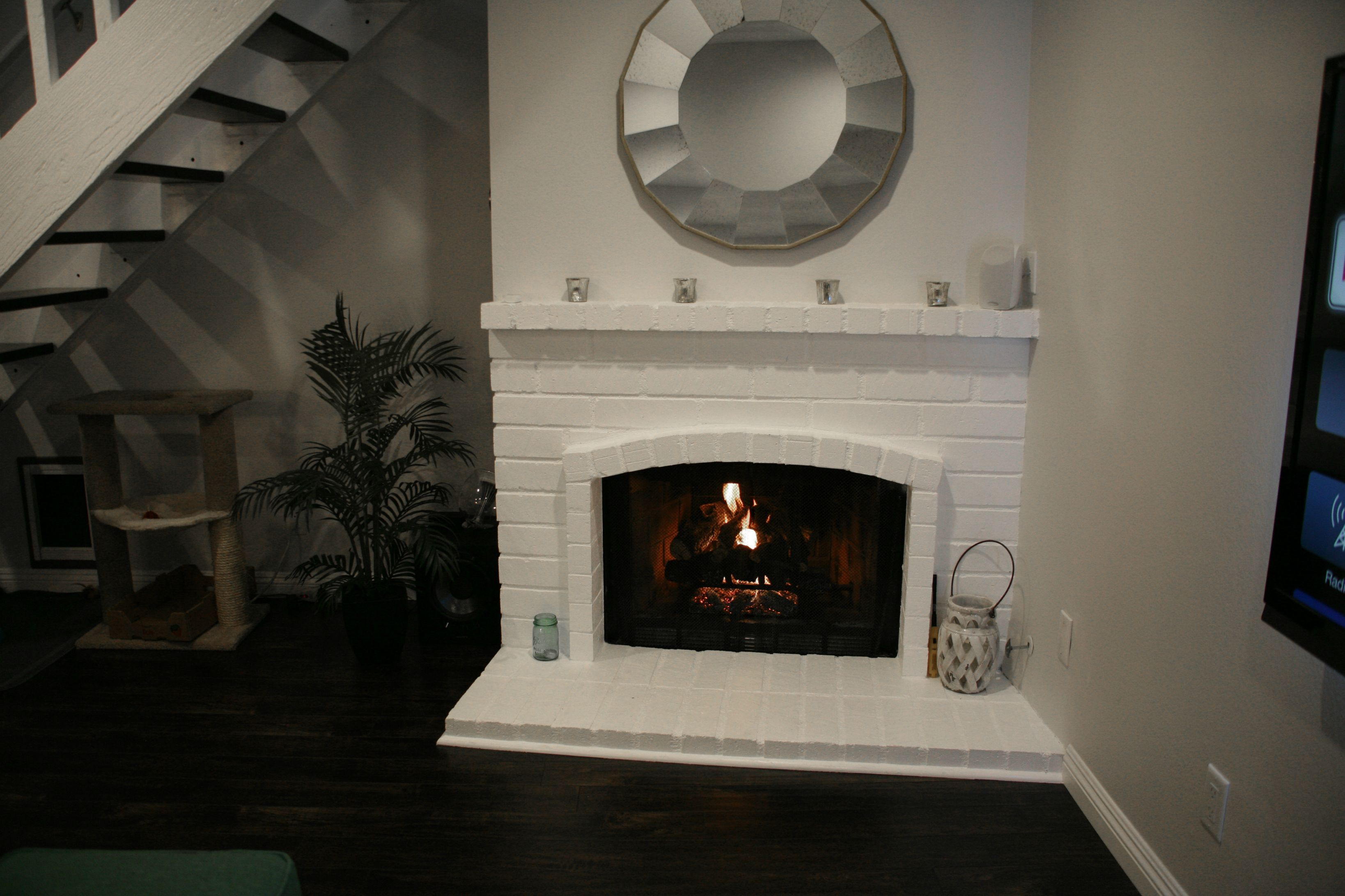 first home renovation paint fireplace floating stairs and wall wood