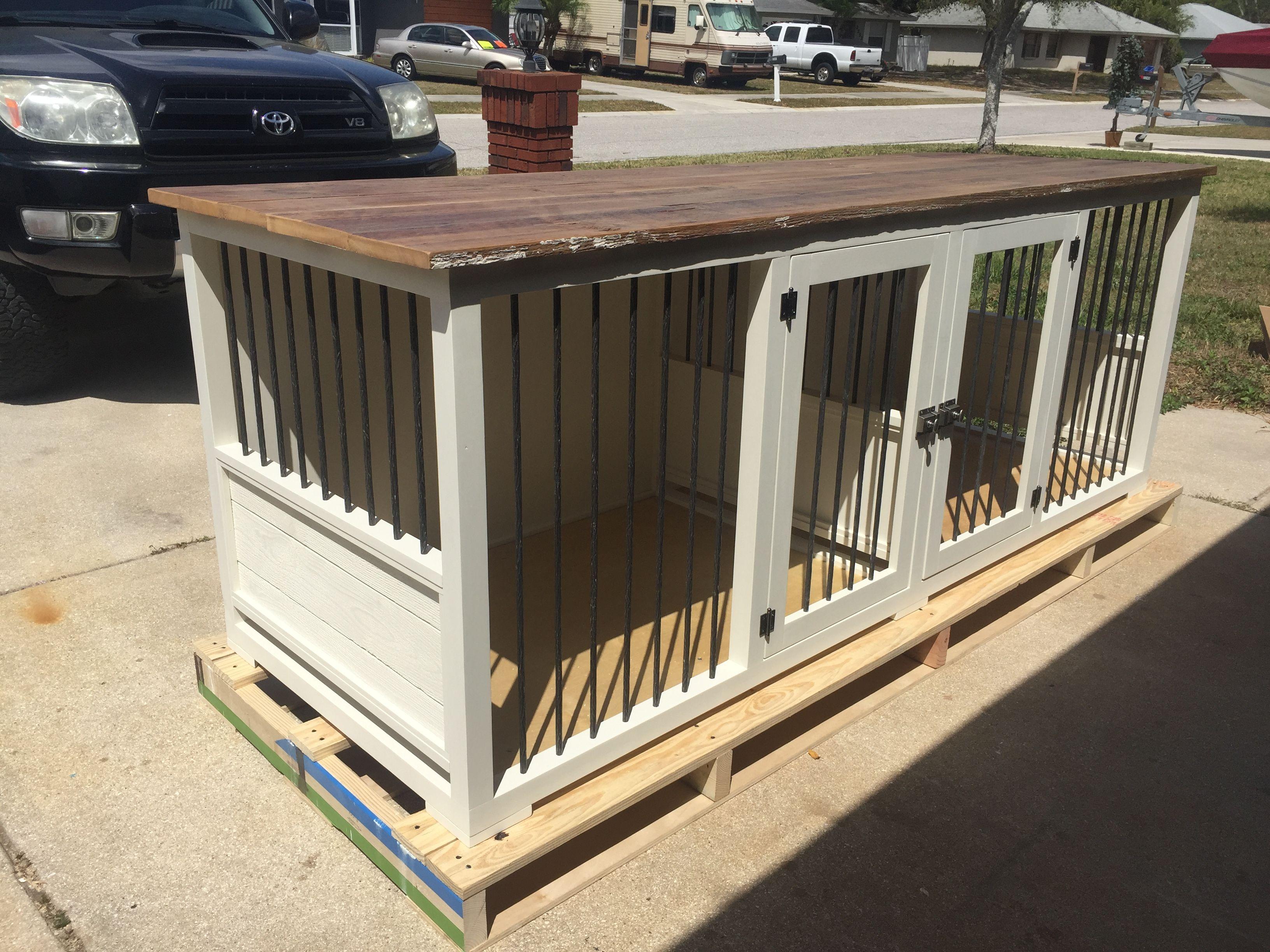 Original double dog kennel for the home pinterest for Boarding kennel blueprints