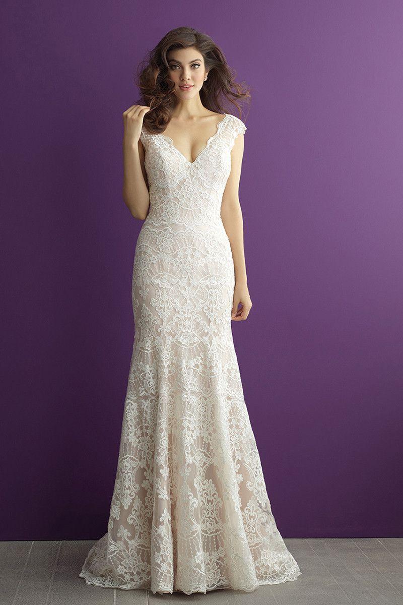 Vintage, lace V-neck wedding dress - Style 2966 from @allurebridals ...