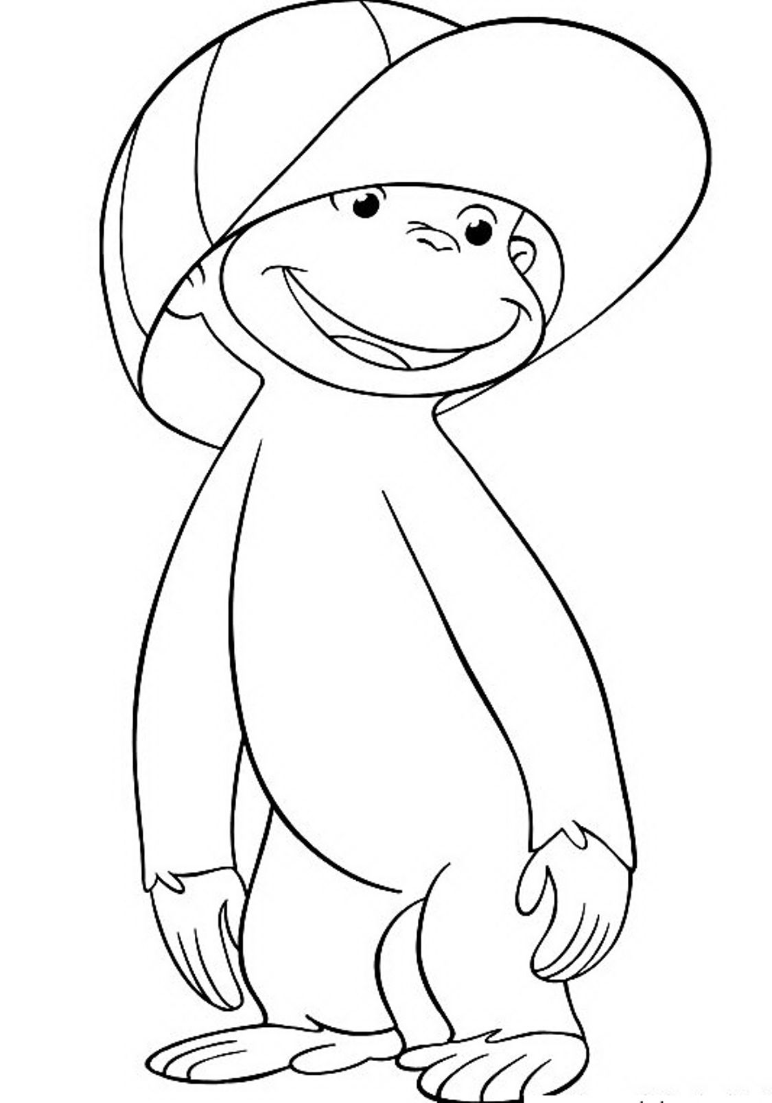 Wearing Hat Curious George Coloring Pages Jorge El Curioso