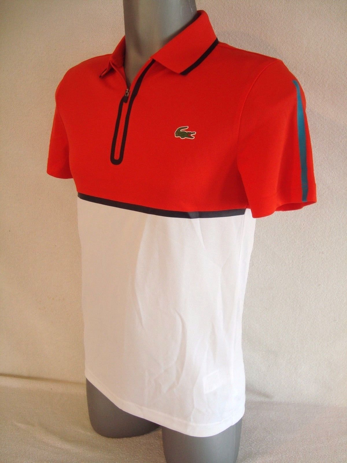 9de0b454b Lacoste SPORT Red White Ultra Dry Mens Zipper Pique Knit Tennis Polo Shirt  NEW