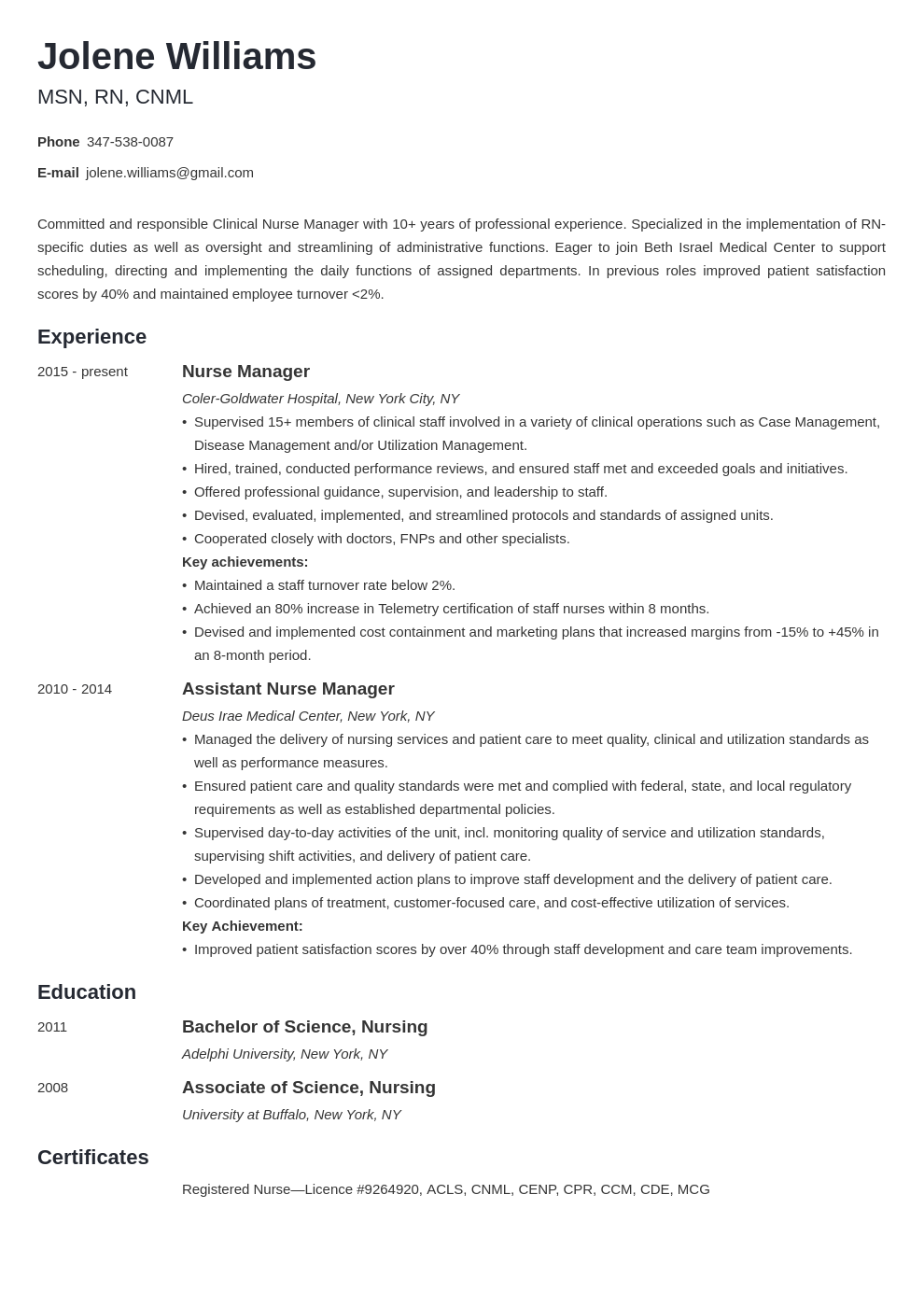 nurse manager resume example template minimo in 2020