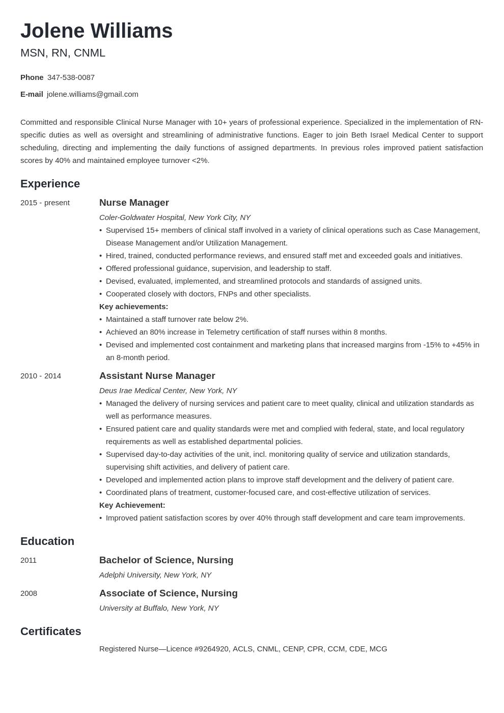 Nurse Manager Resume Example Template Minimo Nurse Manager Manager Resume Resume Examples