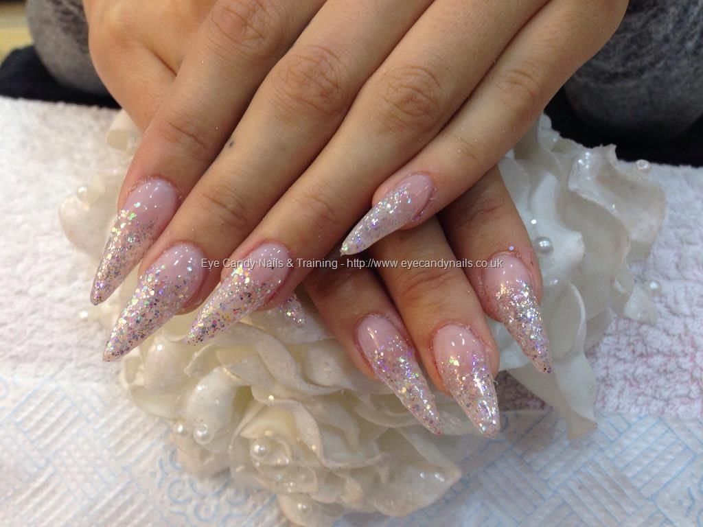 Acrylic Nails With Pink Gel Polish And Silver Glitter Fade Glitter Fade Nails Cute Nail Colors Glitter Gel Nails