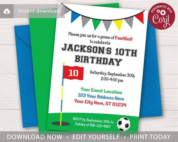 Footgolf Birthday Invitation Soccer Golf Editable
