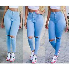 f5cbfec98 Para mujeres Cintura Vaquero Ajustado Rasgado Pantalones medio ...