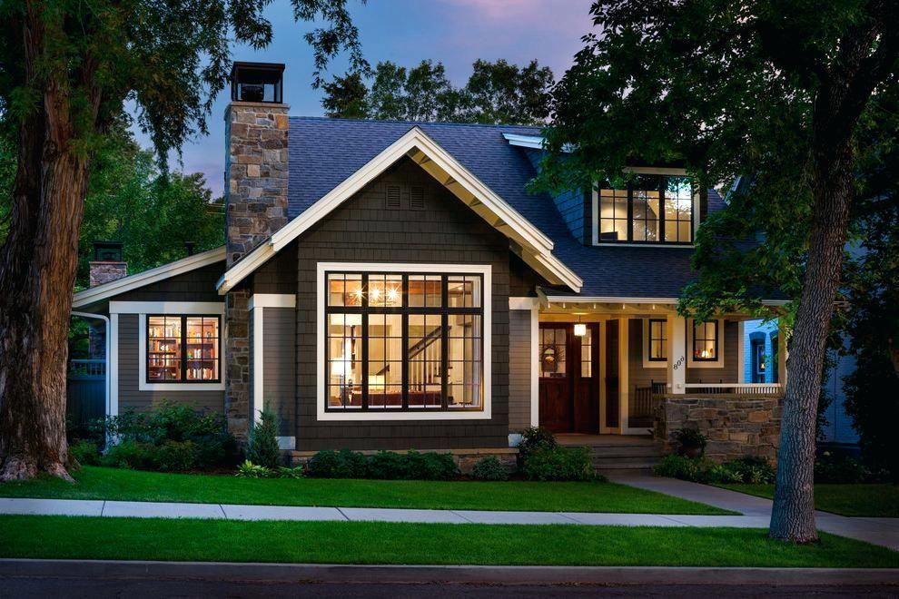 Modern Craftsman Bungalow Green Craftsman Houses Brown Brick Front