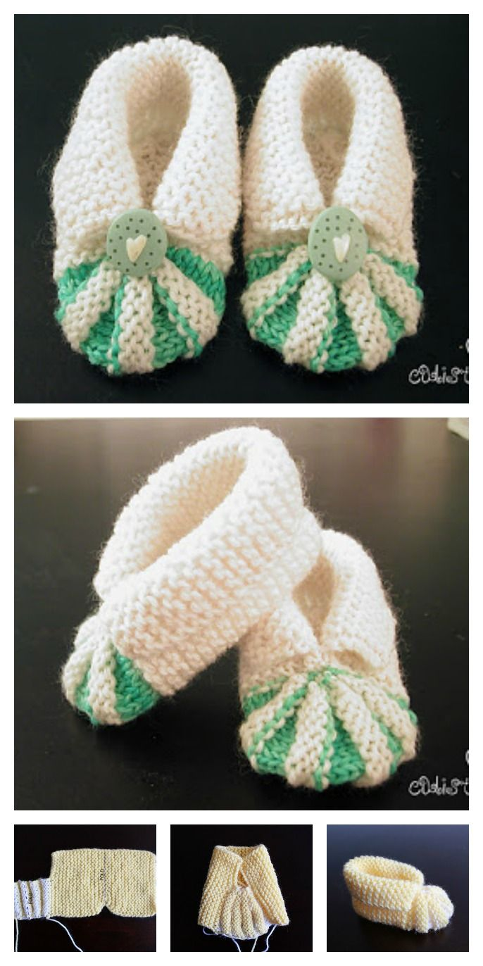 Simple and Cute Baby Knitting Booties Free Pattern | Pinterest ...