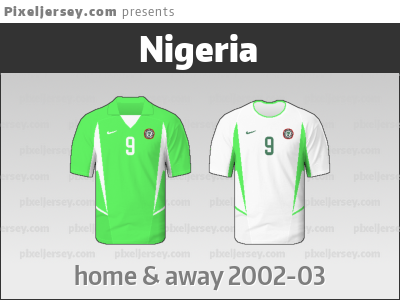 6f65da5c2 Nigeria used this unusual jersey from the 2002 World Cup until next year.  Not the best period of the national team though.
