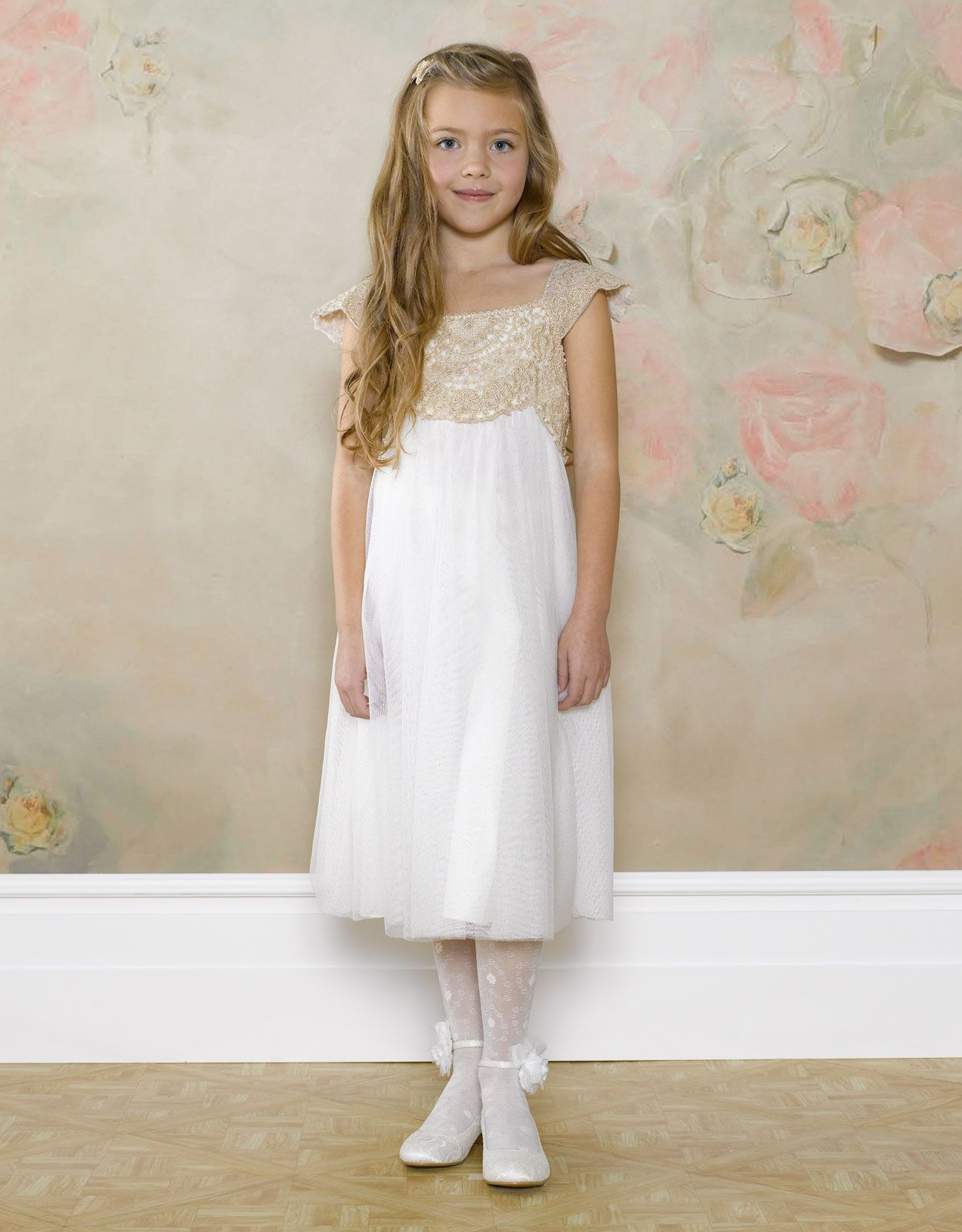 Estella Gold Sparkle Dress | White | Monsoon | Flower girl dress ...