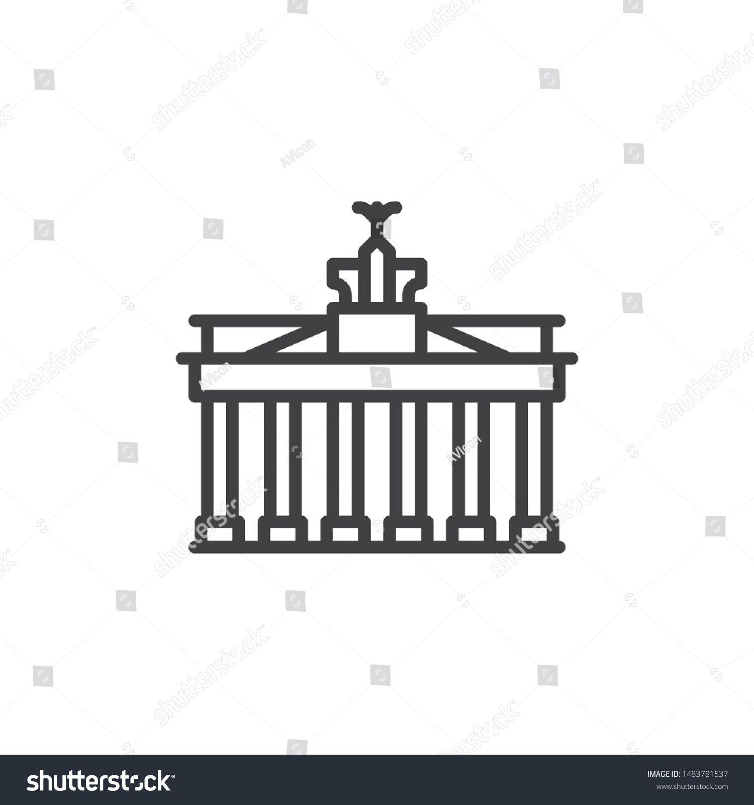 Berlin City Landmark Line Icon Linear Style Sign For Mobile Concept And Web Design Brandenburg Gate Outline In 2020 Abstract Images Travel Symbols Logo Illustration