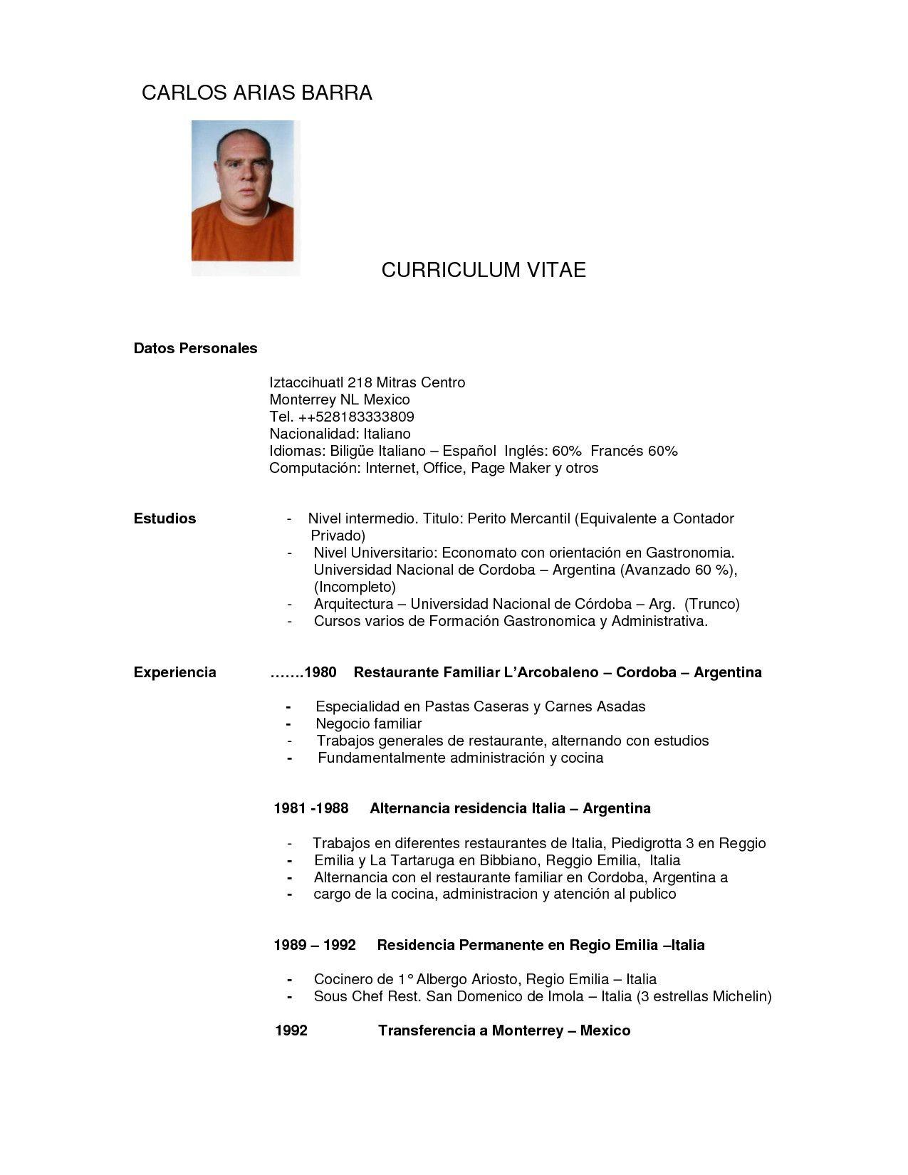 Perfecto Curriculum Vitae Para El Chef Ejecutivo Viñeta - Colección ...