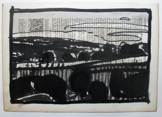 Original India Ink and Wash Landscape Drawing on by Paintbox