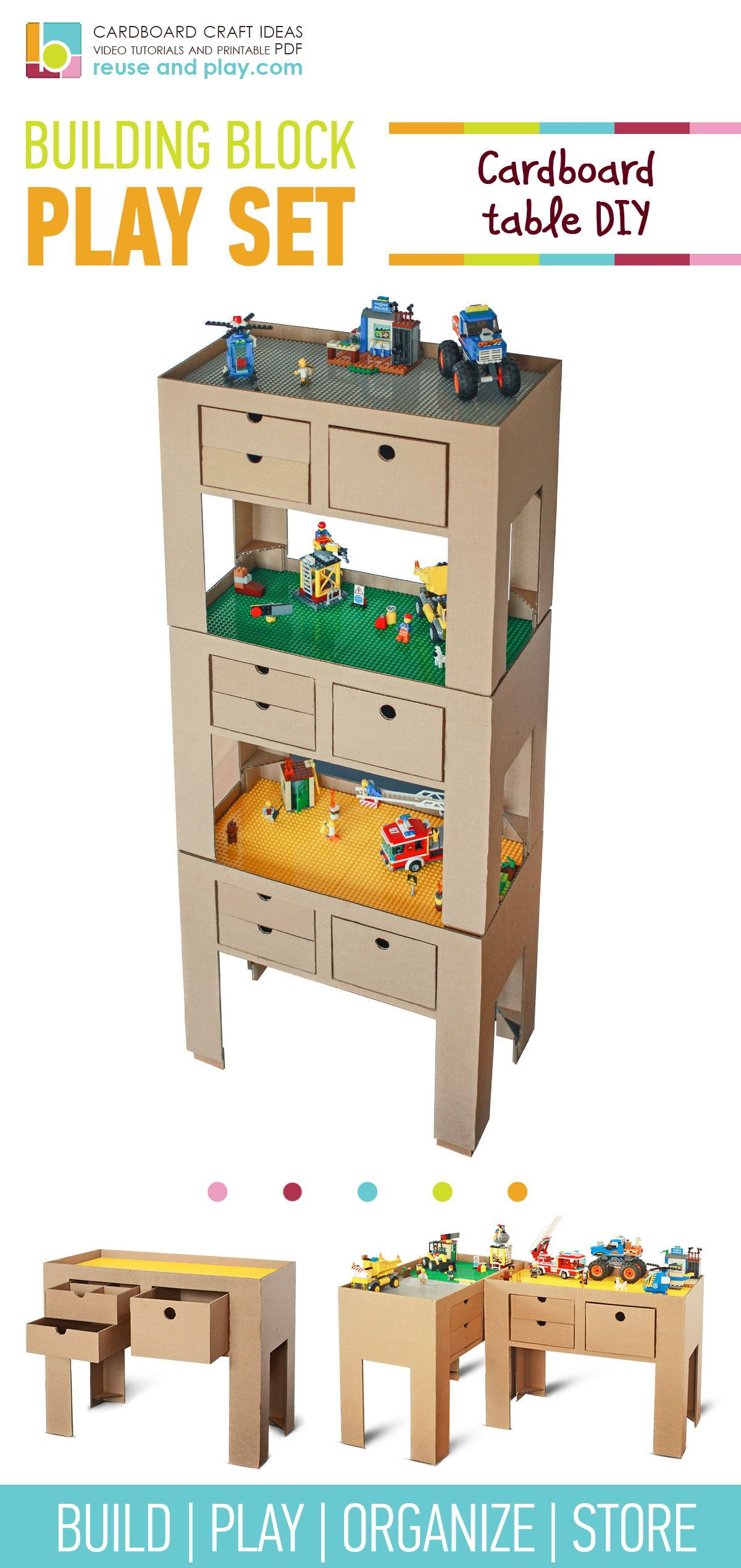 Block Building Table Cardboard Furniture Printable Diy Pdf Tutorial