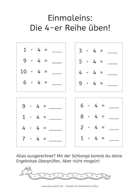 Einmaleinsreihen: Einfache Übungsaufgaben -   Math and School