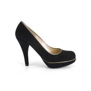 de de con tacón fiesta 590V Ante 12701 Negro Zapato mujer de aPSvYRz6wq