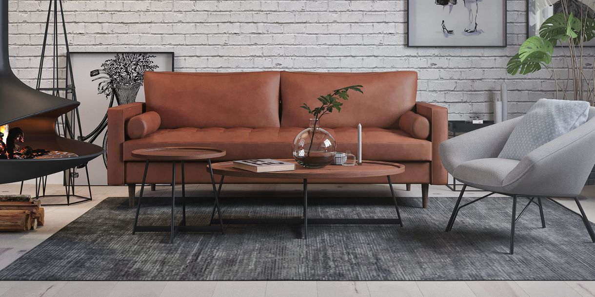 Louis 2 Seater Tan Eco Leather Sofa Leather Sofa Living Room Mid Century Leather Sofa Walnut Side Tables