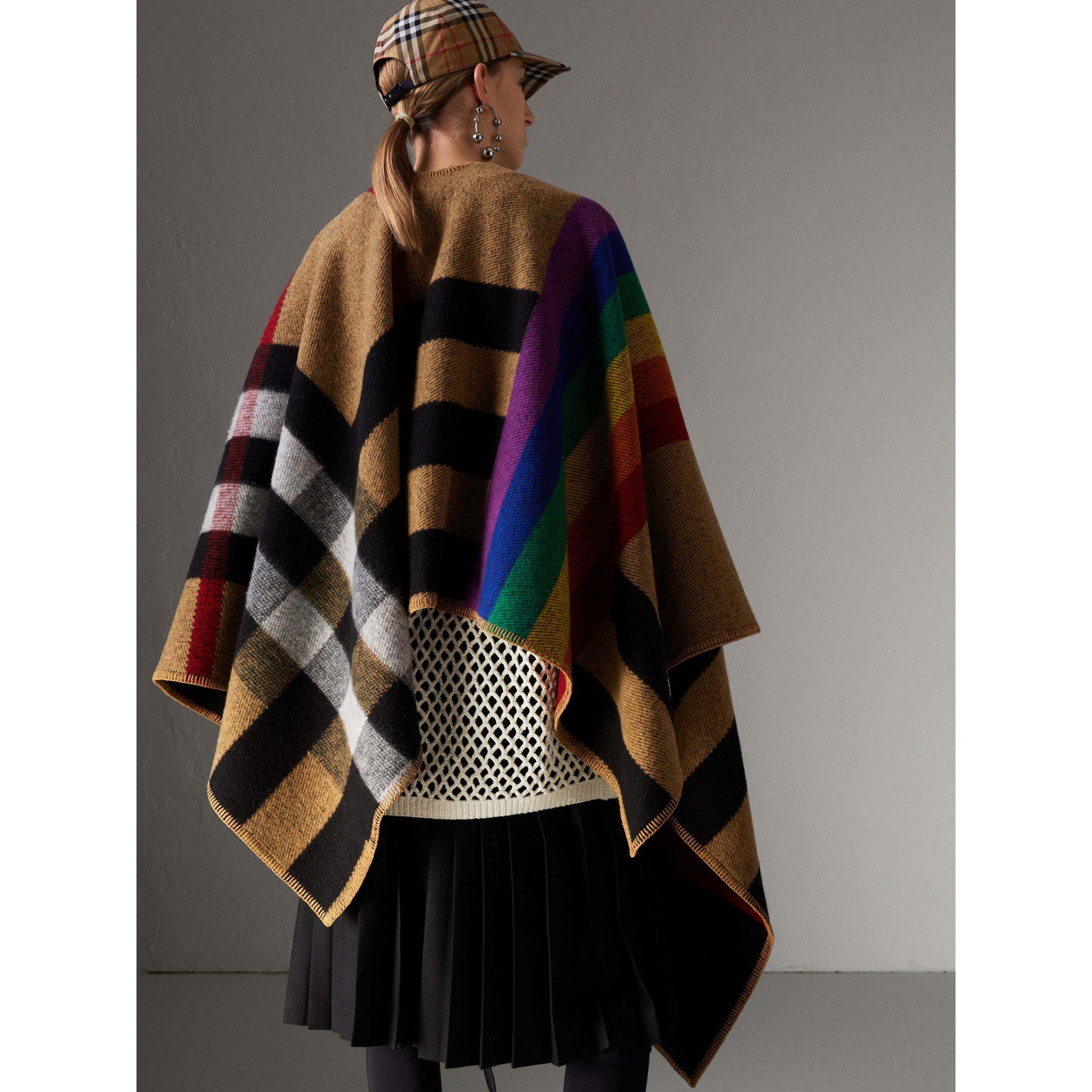 776724a459aa Rainbow Vintage Check Wool Cashmere Poncho in Antique Yellow rainbow -  Women