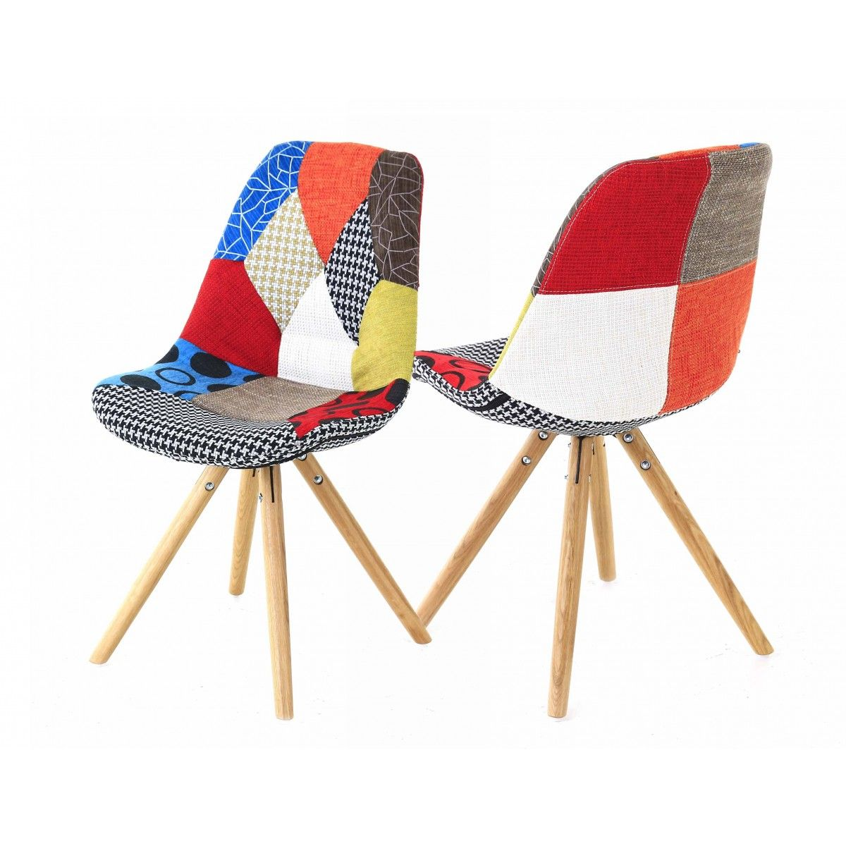 2x chaise lounge multicolore patchwork - Chaise Scandinave Multicolore
