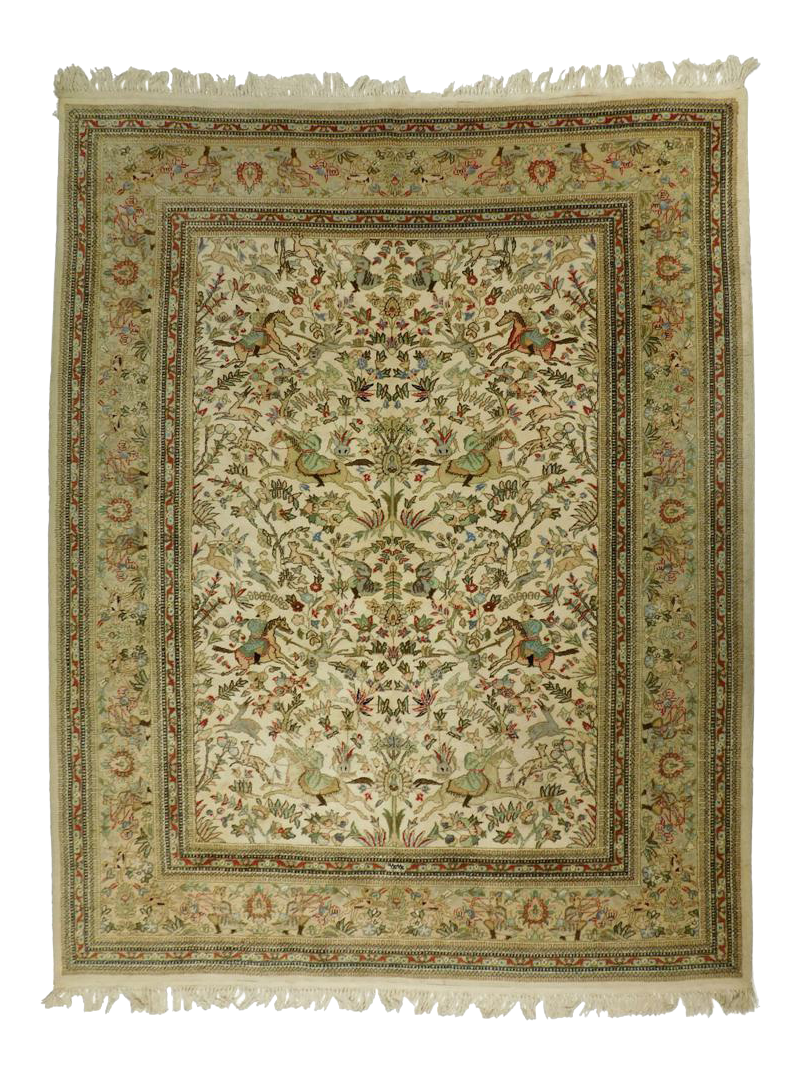 Hand Knotted Persian Tabriz Hunting Rug