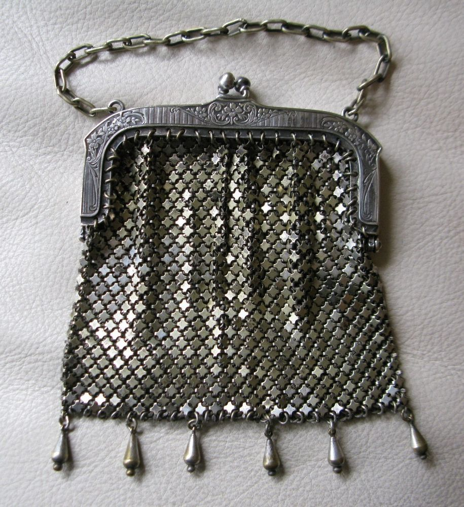Bags, Handbags & Cases Antique Victorian Silver T Floral Frame Mesh Point Fringe Chatelaine Coin Purse